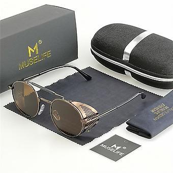 الرجعية جولة نظارات شمسية معدنية، ستيمبانك الرجال والنساء، نظارات الحماية من الأشعة فوق البنفسجية