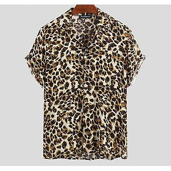 Kesä Lyhythihainen Leopard Print Shirt