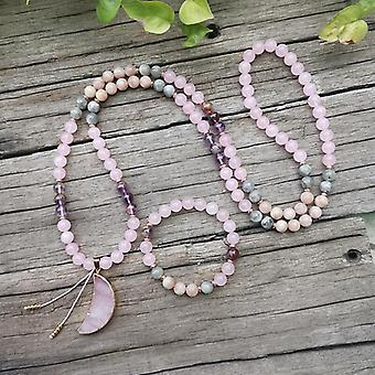 8mm Natural Stone Beads Labradorite Rose Quartz Moon Japamala Sets