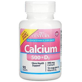 21st Century, Calcium 500 + D3, 90 Tablets