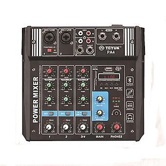 TEYUN PA4 4 Channel Audio Mixer Mixing Console with Built-in 2x100W Amplifier for DJ KTV Karaoke Sta