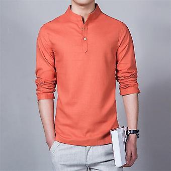 メンズ スプリング コットン リネン シャツ、長袖、ソリッドウェア、カジュアル スタンド カラー