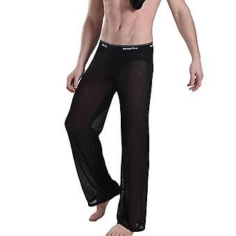Pijamas de malha casual Homens ultrafinos veem calças tranparentes calças longas