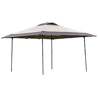 Outsunny 4 x 4m Pop-up Canopy Gazebo Tent with Roller Bag & Adjustable Legs Outdoor Party, Steel Frame, Khaki