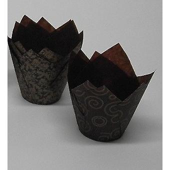 Brown and Gold Tulip Cupcake Case - Pack of 50