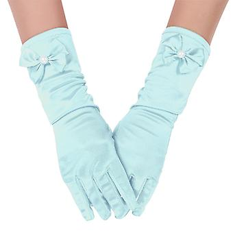 Faux Pearl Bows Long Satin Gloves for Princess
