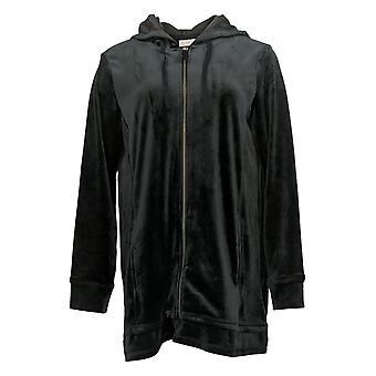 LOGO by Lori Goldstein Women's Sweater Velour Zip Hoodie Black A389998