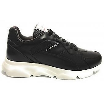 حذاء الرجال الطموح 8894 أحذية رياضية في الجلد الأسود أسفل عالية U21am16