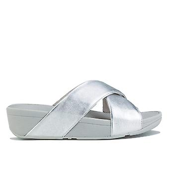 Women's Fit Flop Lulu Leather Cross Slide Sandals in Silver