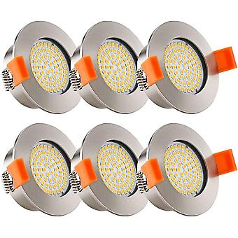 Gerui LED Recessed Bathroom Spotlights with Built-in 5W LED Module,6 Pack Brushed Nickel Round Extra