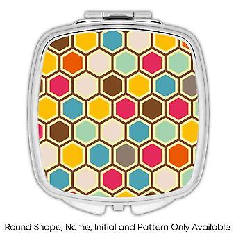 Gift Compact Mirror: Colorful Beehive Scandinavian