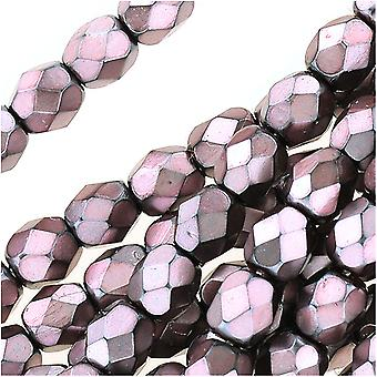 Czech Fire Polished Glass Beads 4mm Round Full Pearlized - Dusty Rose On Jet (50)