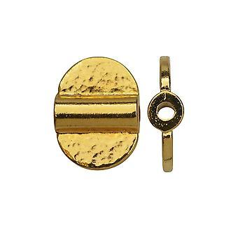Final Sale - TierraCast Baule Perle, Dual Hammered Half Circles 10x14mm, 2 Stück, Hell vergoldet