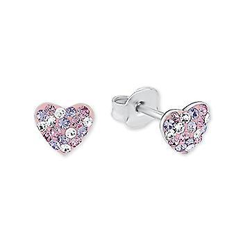 Prinzessin Lillifee orecchini per bambine, cuore in argento, Porpora, 925 rodiato cristallo multicolore � 2013168