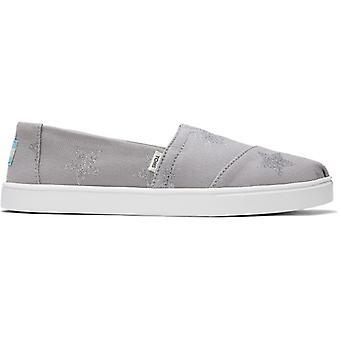 TOMS Alpargata Cupsole نجوم السيدات القطن زلة على الأحذية الرمادية
