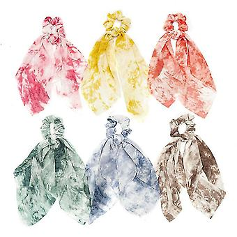 6Pcs cravatta capelli cravatta cravatta tessuto streamers anello per capelli donna