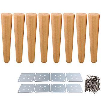 8pcs Forma afilada pernas de móveis de madeira 30x6x3,5cm para mesa de cama