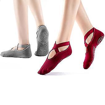 Yoga Socks For Women Non Slip Socks For Yoga Pilates 2 Pairs(Red Dark Gray)