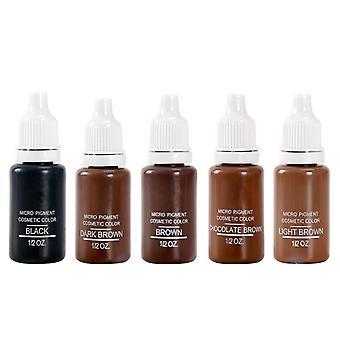 5 Fľaša 1/2 Oz Permanent Makeup Micro Pigments Set Hnedá zmiešaná farba na tetovanie