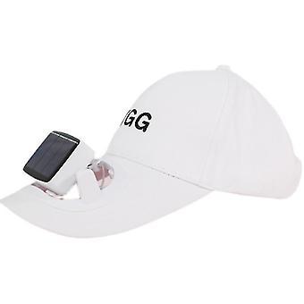 Vemix Creative Solar Fan Cap Outdoor Portable Usb Charging Cap With Fan(White)