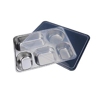 Deepen Thick Stainless Steel Plate With 5 Compartments And Plastic Cover