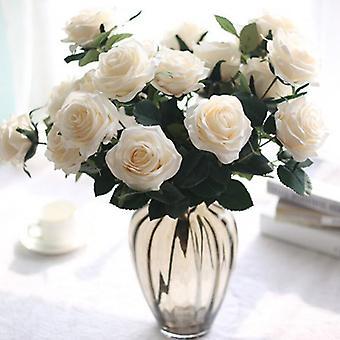 Simulation Bouquet 10 hoveder Rose Bouquet Stue Dekoration Spisebord Vase Blomsterarrangement Bryllup Dekoration