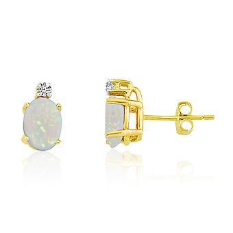 LXR 14k keltainen kulta soikea opaali ja timantti korvakorut 0.92ct