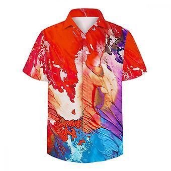 ユンユン メン&アポス ヴォーグ レッド オイル ペイント 3D 半袖シャツ