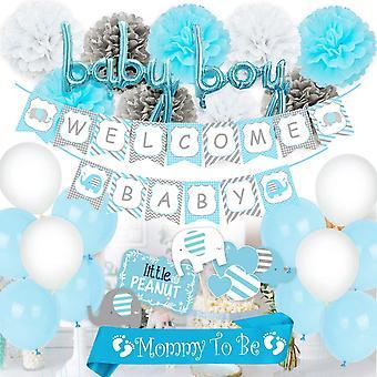 Blaue Baby-Dusche-Dekorationen für Junge, Mama, Schärpe, Elefanten-Mittelstücke, Willkommen Baby