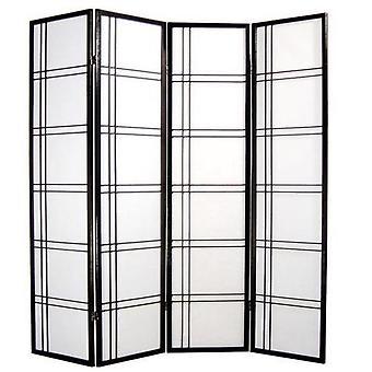 Fine Asianliving Japanese Room Divider 4 Panneaux W180xH180cm Écran de confidentialité Shoji Riz-papier Noir - Double Croix