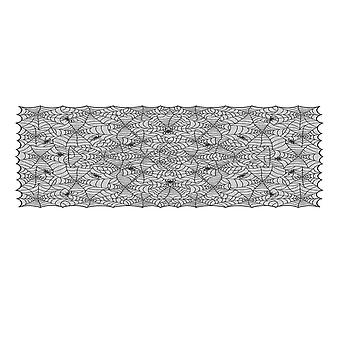 Mile 63 X 89 Inch Polyester Lace Tablecloth Rectangular Black Spider Web Table Topper Cloth For Halloween Parties Table Decorations