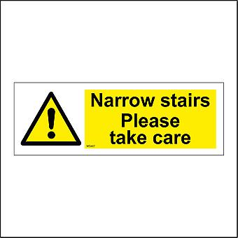 WS907 Narrow Stairs Please Take Care Sign with Triangle Exclamation Mark