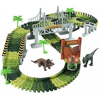 Race Track Dinosaurus Speelgoed Auto & Flexibele Track Playset 2 Dinosaurussen