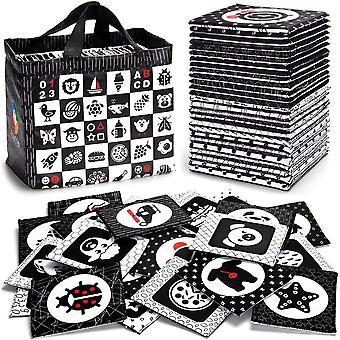 Mustavalkoiset pehmeät flash-kortit, 26 kuviota vauvat visuaalinen palapeli