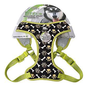 "Pet Attire Ribbon Brown Paw & Bones Designer Wrap Adjustable Dog Harness - Fits 22""-28"" Girth - (3/4"" Straps)"