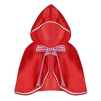 子供の赤ずきんハーフケープクリスマスハロウィーンロールプレイングフードケープ、ポリエステル素材S-m