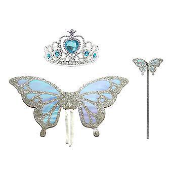 ハロウィーンの子供たちは蝶の羽の妖精スティッククラウン3ピースセットをドレスアップ
