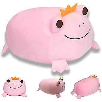 Frosch Stofftier Niedliche weiche Frosch Plüsch mit Krone Lächeln Gesicht Plüsch Kissen Spielzeug
