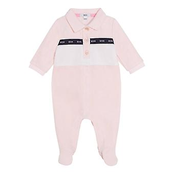 Hugo boss baby girls pink velour babygrow j97183 44l