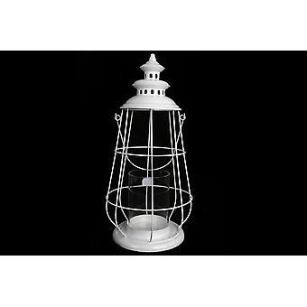 HANGING VINTAGE WHITE METAL CAGED SEASHORE LANTERN HOME DECORATION