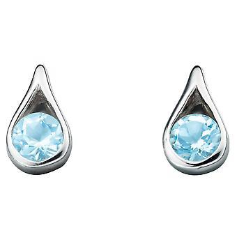 925 sølv blå topas ørering