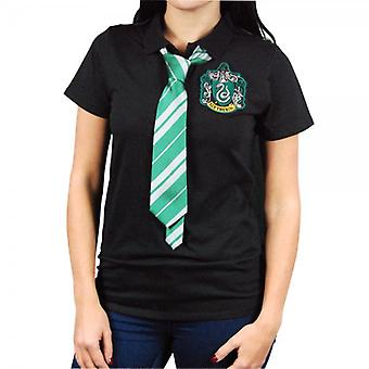 Harry Potter Womens Harry Potter Slytherin Cape Polo Shirt With Tie