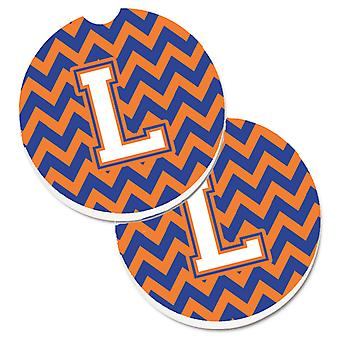 Letter L Chevron Blue and Orange #3 Set of 2 Cup Holder Car Coasters