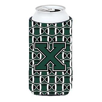 Letter X Football Green and White Tall Boy Beverage Insulator Hugger