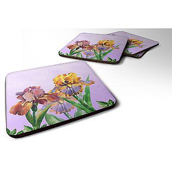 Set of 4 Purple and Yellow Iris Foam Coasters Set of 4