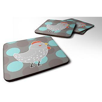 4 の 4 の灰色鶏泡コースター セットのキャロラインズ宝物 BB6778FC セット