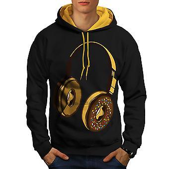 Hoofdtelefoon Donut muziek muziek mannen zwart (gouden kap) Contrast Hoodie | Wellcoda
