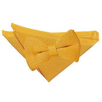 Marigold jaune tricoté noeud de cravate et mouchoir de poche Set
