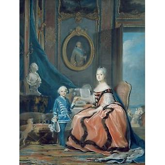Portrait of Marie-Josephe de Saxe (1731-67).. - Tea Towel 100% Cotton - Art247