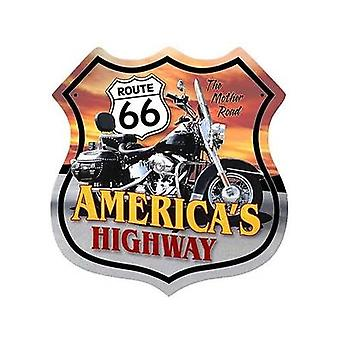 Route 66 motorcykel Shield stor metall skylt (Die Cut)